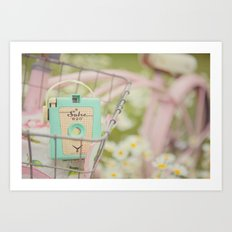 Bike ride through the daisys... Art Print