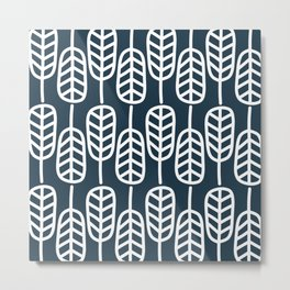 Feather Leaves Minimalist Pattern in White and Navy Blue  Metal Print