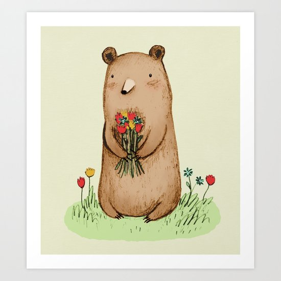 Bear Bouquet Art Print