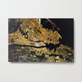 Space Station View of New York City at Night Photograph Metal Print
