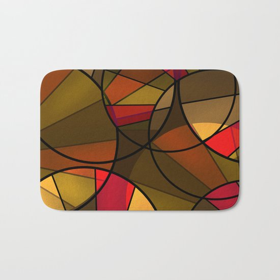Red brown yellow black abstract pattern. Cycle . Bath Mat
