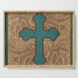 Western Faux Tooled Leather Cross Teal Turquoise Brown Serving Tray