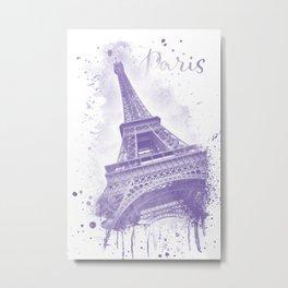 Watercolor Eiffel Tower | purple Metal Print