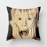 home alone Throw Pillows featuring Home Alone by DeMoose_Art