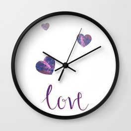 Love and hearts, calligraphy and pour painting design Wall Clock