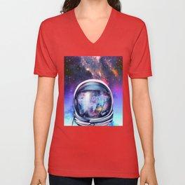 astronaut world map 1 Unisex V-Neck
