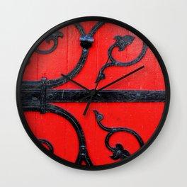 Hinge on a Red Door Wall Clock