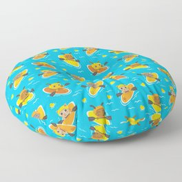 Cats and Dogs in Canoes Floor Pillow