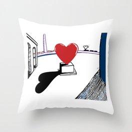De Chirico and heart Throw Pillow
