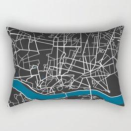 Porto city map black colour Rectangular Pillow