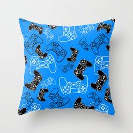 Video Games Blue Throw Pillow