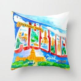Greetings From Austin Mural watercolor Throw Pillow