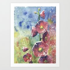 Hollyhocks - Pink Flowers Art Print