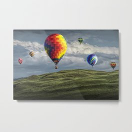 Hot Air Balloons over Green Fields Metal Print