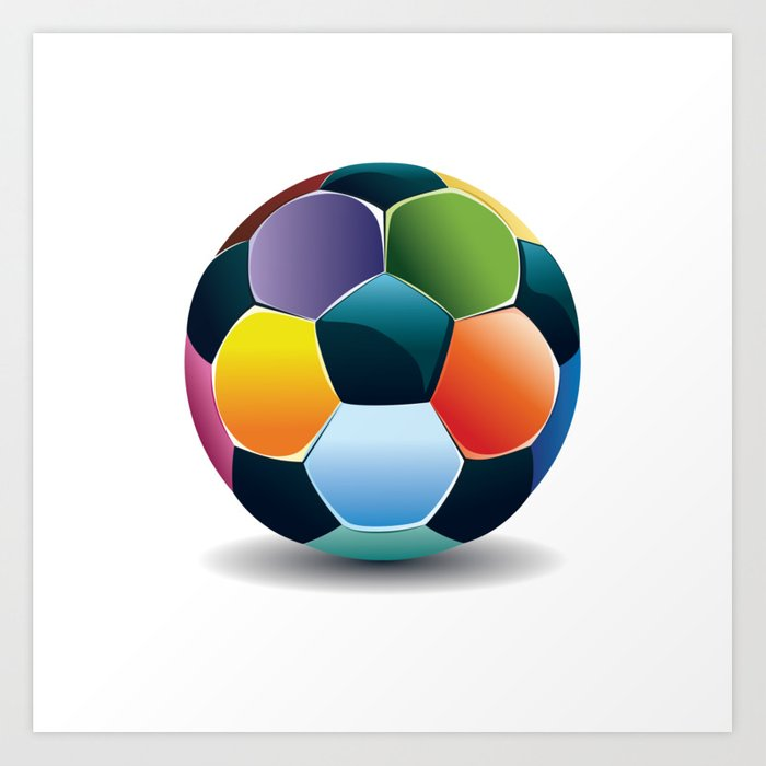 colorful soccer ball art print by annartshock society6