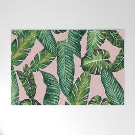 Jungle Leaves, Banana, Monstera II Pink #society6 Welcome Mat