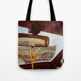 Driving in Rural Scandinavia - Closeup of Wild Landscape in Car Tote Bag
