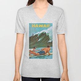 1960 Hawaii Big Wave Surfing Travel Poster Unisex V-Neck