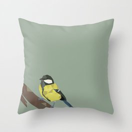 Polly - Great Tit Throw Pillow