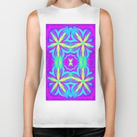 psychedelic art Biker Tanks featuring psychedelic Floral Fuchsia Aqua by 2sweet4words Designs