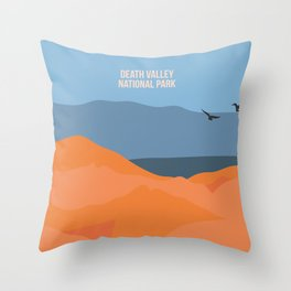 Winged Living Creatures Soaring High In Death Valley National Park Throw Pillow