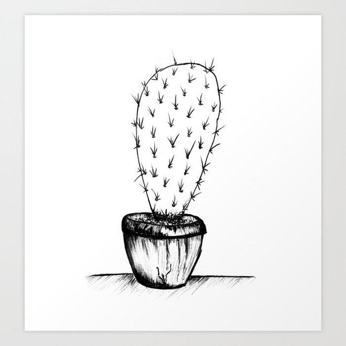 prickly black and white cactus Art Print