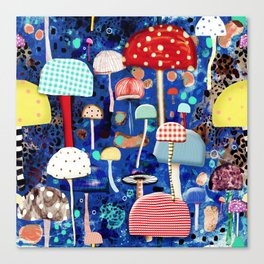 Blue Mushrooms - Zu hause Marine blue Abstract Art Canvas Print