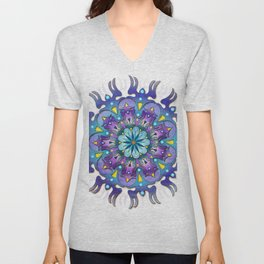 Colored blue mandala Unisex V-Neck