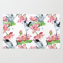 Pattern with cranes and lotuses Rug