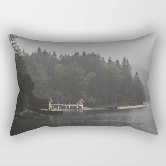 Foggy mornings at the lake II - landscape photography Rectangular Pillow