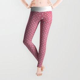 Vintage girly pink white hipster cute polka dots pattern Leggings