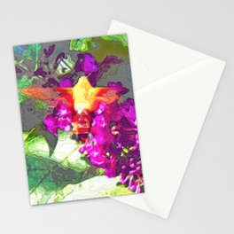 Butterfly Over Fuchsia Flowers Stationery Cards