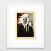 headdress Framed Art Prints featuring headdress by Karen Constance Collage and Paintings