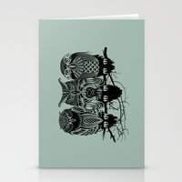 owls Stationery Cards featuring Owls of the Nile by Rachel Caldwell