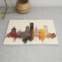 Detroit City Skyline Rug
