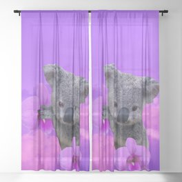 Koala and Orchid Sheer Curtain