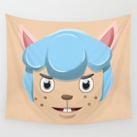 miley cyrus Wall Tapestries featuring Animal Crossing Cyrus by ZiggyPasta