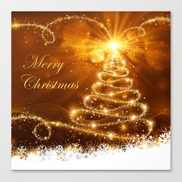 Merry Christmas Typography, Sparkling Gold Glitter Tree and Snowflakes Canvas Print