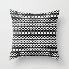 Fair Isle Black & White Throw Pillow
