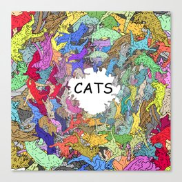 Colorful Rainbow Cats Canvas Print