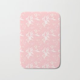 White on Pink Bath Mat