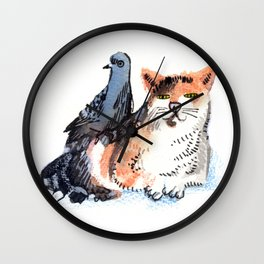 Pigeon and Cat Wall Clock