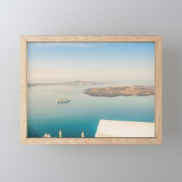 The beautiful white village Fira and vie to the Nea Kameni, Santorini, Greece Framed Mini Art Print