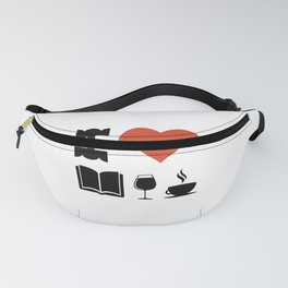 Funny Coffee Books and Wine Lover Novelty print Fanny Pack
