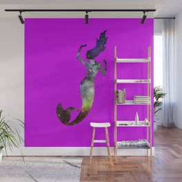 Galaxy Mermaid (Fuscia) Wall Mural