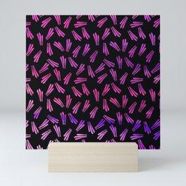 Modern black pink fuchsia lavender watercolor brushstrokes Mini Art Print