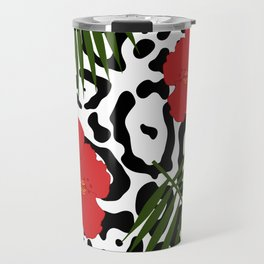 Red hibiscus and palm leaves seamless pattern Travel Mug