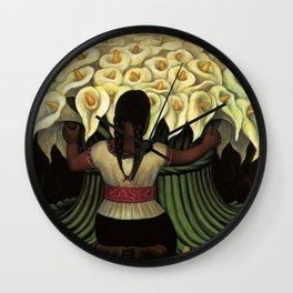 1941 Classical Masterpiece Calla lily 'Flower Seller' by Diego Rivera Wall Clock