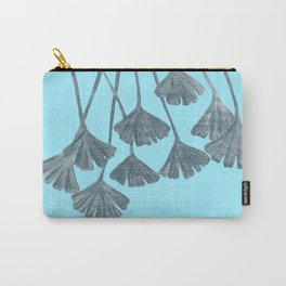 Silver Gingko Leaves Carry-All Pouch