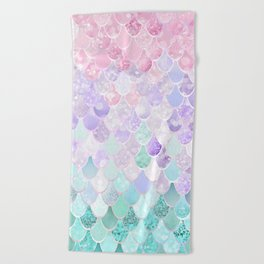 Mermaid Pastel Iridescent Beach Towel